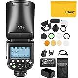Godox V1-N TTL On-Kamera Runde Kamerablitz-Blitzgerät mit Godox AK-R1 Flash-Kit kompatibel für...