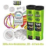 KNIXS Knicklichter inkl. 200x 2D-Verbindern, 4x Kreisverbinder, 4x 7-Loch-Verbinder im 6-Farb-Mix,...
