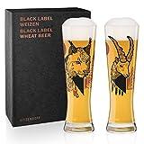 Ritzenhoff Black Label Weizenbierglas-Set von Daniel Fatemi (Lynx & Chamois), aus Kristallglas, 669...