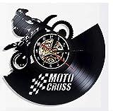 zhangfuhe Musik Cool Motocross Schallplatte Wanduhr Modernes Design Motorrad Racing 3D Dekoration...