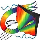 Riesiger Regenbogen-Leichtwinddrache mit 50m Drachenschnur - Lenkdrachen für Kinder -...