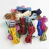 DAHI 52 STK Lederband 3mm Leder Schnur Faden Wildlederband 26 Farben für Armband Halskette Perlen...