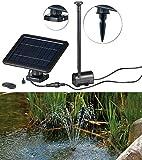 Royal Gardineer Solarpumpe: Teich- und Springbrunnen-Pumpe mit 2-Watt-Solarpanel und Akkubetrieb...
