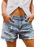 Sidefeel Lässige ausgefranste Destroy Bermuda aus Denim, gerissene kurze Jeans für Damen - -...