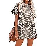 Sommer-Pyjama-Set, Loungewear für Frauen, 2-teiliges Lounge-Set mit Nachtwäsche und Shorts,...