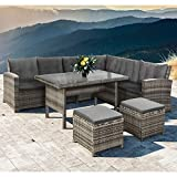 ArtLife Polyrattan Sitzgruppe Lounge Santa Catalina beige-grau – Gartenmöbel-Set mit Eck-Sofa, 2...
