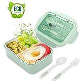 Bento Box, Lunchbox Kinder, Brotdose Kinder, Lunchbox mit 3 Fächern und Besteck, Auslaufsichere...