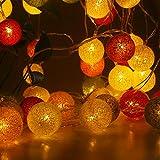 HELESIN Dekorative Lichterkette mit 20 Baumwollkugeln, batteriebetrieben, für Kinderzimmer, Garten,...