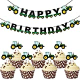 Farm Green Tractor Theme Party-Dekorationen, Enthält Green Tractor Happy Birthday Banner und 28...