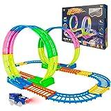 HOMCENT Kinder Rennauto Track Sets, Flexible Zugbahnen für Kleinkinder mit LED Spielzeugauto, Glow...