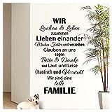Wandaro Wandtattoo Spruch Wir sind eine tolle Familie I Schwarz 58 x 90cm I Flur Wohnzimmer...