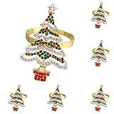 Fuyamp Goldener Weihnachtsbaum-Serviettenringe, Strass, Weihnachtsbaum, Serviettenring,...