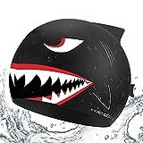 CybGene Hai Silikon Badekappe für Kinder unter 10 Jahren, Jungen, Mädchen, Badekappen für die...