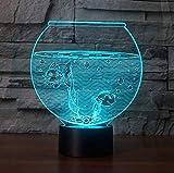 XKALXO 3D Nachtlicht Led Aquarium Form Illusion Nachtlicht Flash Farbwechsel Tischlampe Shop...