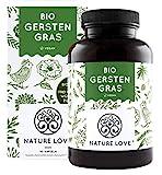 NATURE LOVE® Bio Gerstengras - Hochdosiert mit 1500mg je Tagesdosis - 180 Kapseln - Laborgeprüft...