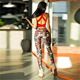 Fiaoen Yoga-Set gedruckt Yoga Anzug Womens Floral Bedruckte Yoga Workout Leggings Sporthose...