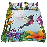 Eslifey Bettwäsche-Set, tropischer und exotischer Garten mit Kolibri, weich, 3-teilig, 150 x 200...