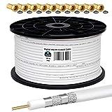 HB-DIGITAL 100m Koaxialkabel HQ-135 Antennenkabel 135dB SAT Kabel 8K 4K UHD 4-Fach geschirmt für...