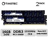 Timetec Hynix IC DDR3 1333MHz PC3-10600 Unbuffered Non-ECC 1.5V CL9 2Rx8 Dual Rank 240 Pin...