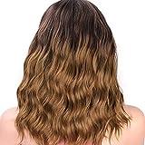 QJWM Kurze Curly Wigs füR Schwarze Frauen GroßE Welle Braun Short Kinky Curly Big Bouncy Hair Wig...