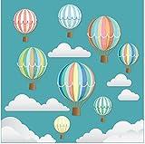 Stickers4 Wunderschöne dekorative Retro-Heißluftballons mit Wolken – Doppelseitig Bedruckte...