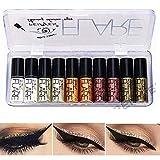 Glitter Eyeliner, Lucoss Liquid Glitzer Eyeliner Set Silber Gold Metallic Glitter Augen Make-up-Kit...