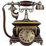 MYYINGBIN Retro Festnetztelefon Mit Holzdrehzifferblatt Antikes Seiltelefon