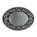 eeddoo® Gürtelschnalle Classic - silber verziert rund (Buckle für Wechselgürtel für Damen und...