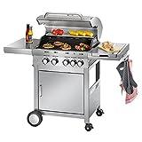 ProfiCook PC-GG 1059  Gasgrill, 4 Edelstahlbrenner + 1 zusätzliche Kochstelle, 4 Heizzonen für...
