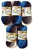 Alize 5 x 100 Gramm Burcum Wolle Petrol türkis grau Weiss mit Farbverlauf, Nr. 4200, 500 Gramm...
