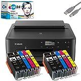 Canon PIXMA TS705 Tintenstrahldrucker schwarz + USB Kabel & 10 kompatible Druckerpatronen der Marke...