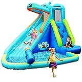 COSTWAY Hüpfburg aufblasbar, Wasserrutsche Aufblasbare Spielpool, Wasserspielcenter mit Rutsche,...