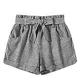 Hotpants Badeshorts Damen Kurze Hose Xjp Frauen Sommer High Waist Strandshorts Mit Gestreiftem...