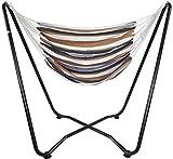 AMANKA Hängesessel mit Gestell bis 150 kg - 155cm Metall Hängestuhl Ständer - Kinder und...
