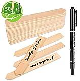 LATERN 50 STK Pflanzenschilder Holz Pflanzenstecker, und 1stck Marker Pen, Stecketiketten Holz fr...