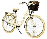 Milord. 28 Zoll 3-Gang Creme Braun Komfort Fahrrad mit Korb Hollandrad Damenfahrrad Citybike Cityrad...