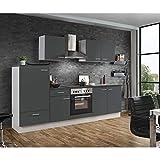 Lomadox Küche in grau Küchenzeile 270 cm Küchenblock Einbauküche Singleküche mit E-Geräten