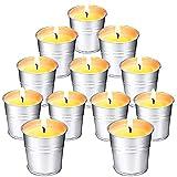 SUPERSUN 12 Stück Citronella Kerze Outdoor im Metalleimer, 120-180 Brennstunden Natürliches...