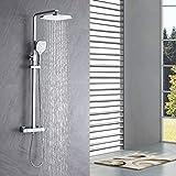Auralum Duscharmatur Thermostat Regendusche, duschset regendusche mit armatur, Kopfbrause und 3...
