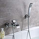 KINSE Duscharmatur Messing Bad Wannenarmatur Badarmatur mit Handbrause und Wasserhahn Wasserfall