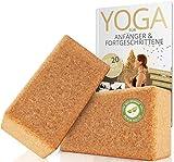 AMITYUNION Yogablock Kork Set 2-100% Natur - Hatha Klotz Anfänger - Mit Buch Mit Heft
