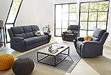 lifestyle4living Couchgarnitur in Grau-Blau Webstoff | Polstergarnitur mit Relaxfunktion, Garnitur...