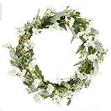 NAHUAA Küstliche Blumen Chrysantheme weiß Kranz Deko Blumenkranz Türkranz mit Blumen für Hause...