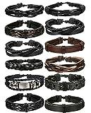 BE STEEL Schmuck 12 Stücke Leder Armbänder für Herren und Damen Armband Geflochten Länge...