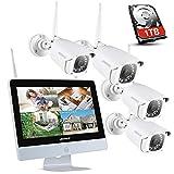 ANNKE Überwachungskamera Set mit Monitor 1080P 8CH 12 Zoll 2.0Megapixel Funk NVR...
