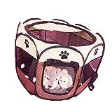 XZPENG Haustier-Laufstall, tragbar, für Hunde und Katzen, Abnehmbarer Netzstoff, Braun + Beige