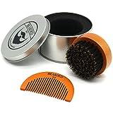 BEARDED BEN Bartbürste mit Wildschweinborsten in hochwertiger Aufbewahrungsbox/Geschenkbox, inkl....