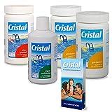 POOL Total Cristal Set Wasserpflege Chlor (5 TLG.)/ Chlor- Set zur Wasserdesinfektion/Poolpflege...