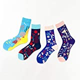 HUANGQIN Herbst und Winter Mode komfortable Männer und Frauen Cartoon Baumwollsocken Skate Socken 4...