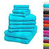10tlg. Handtuch Set Premium 100% Baumwolle 2 Duschtücher 4 Handtücher 2 Gästetücher 2...